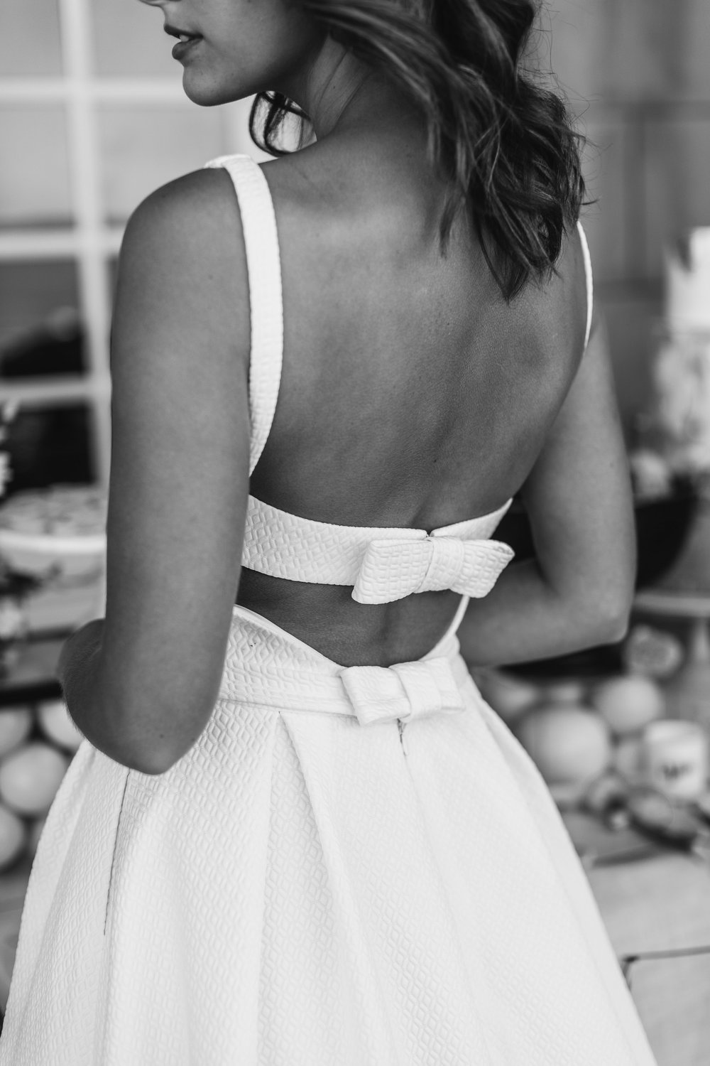 Black and White Photo Bride, Low Back Dress | Wedding Photography by Kas Richards