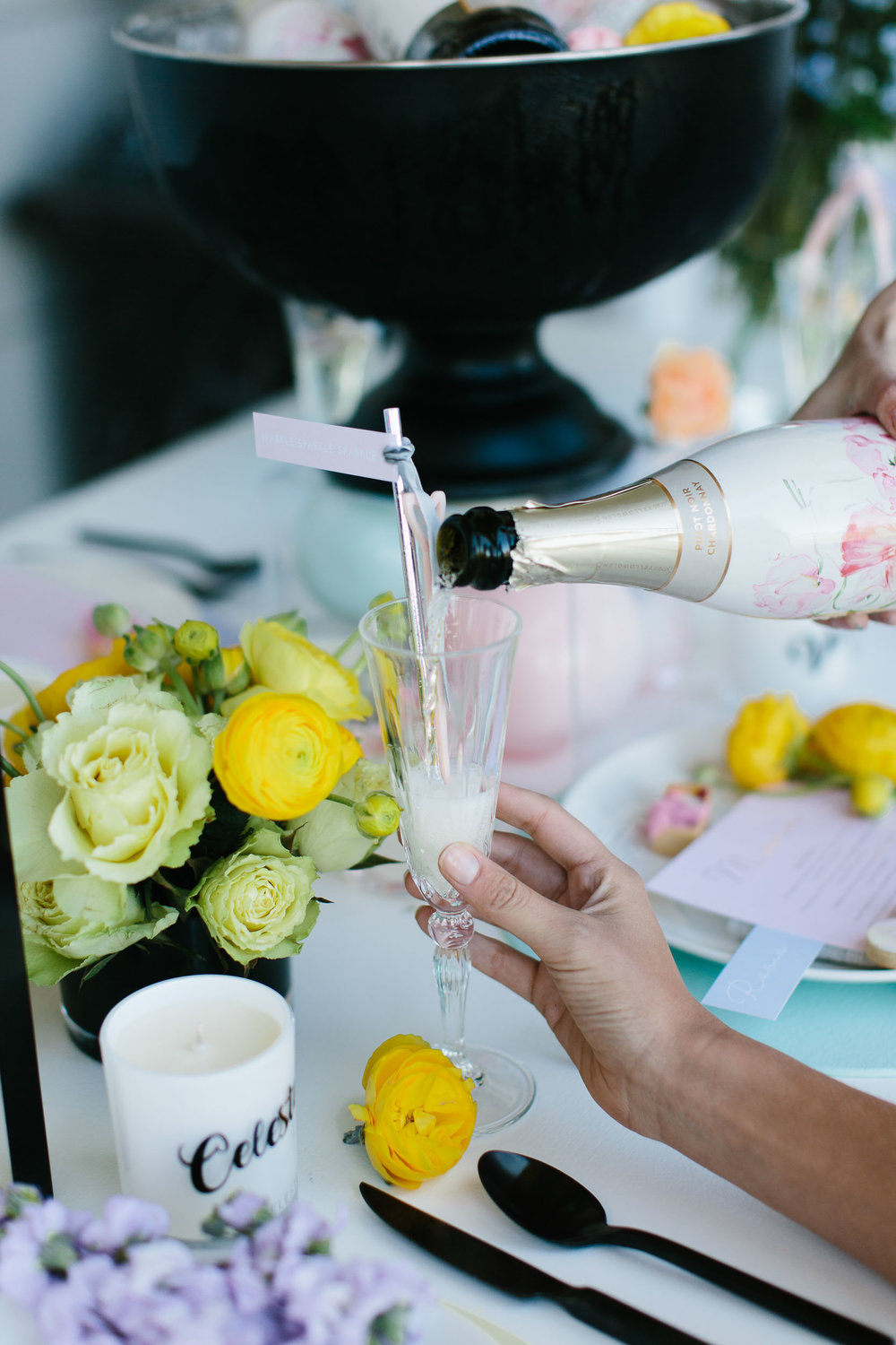 Colourful Table Setting with Champagne | Wedding Photography by Kas Richards