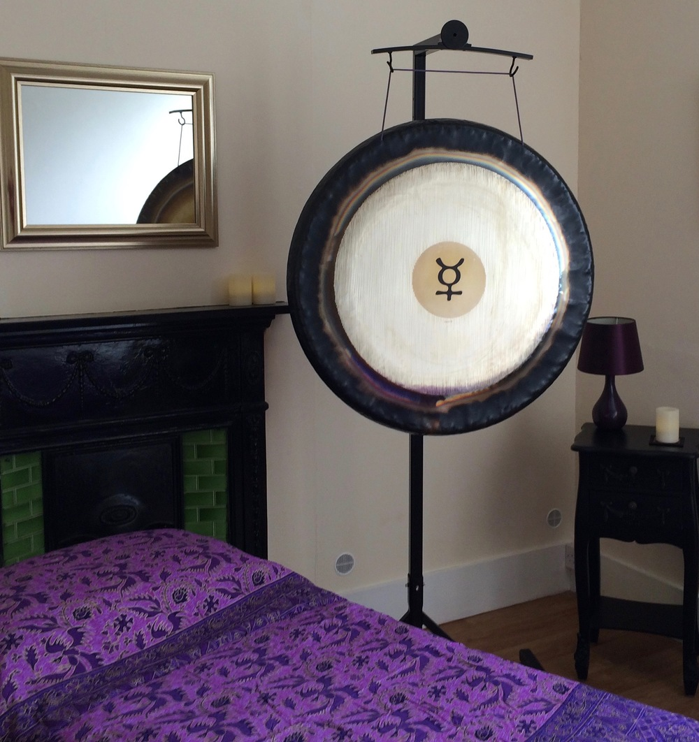 Photo of a One to One Gong Session set up at Purple Turtle Wellbeing, Brighton