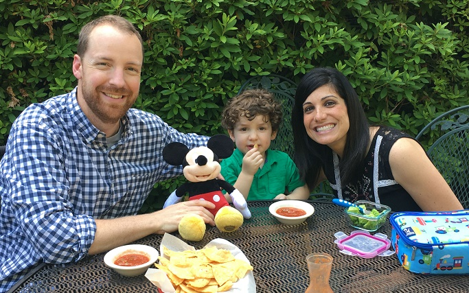 """My family enjoying the outdoor seating at Las Delicias. We caught Elliott sneaking a bite of """"chips and bip"""" (as he says it)"""