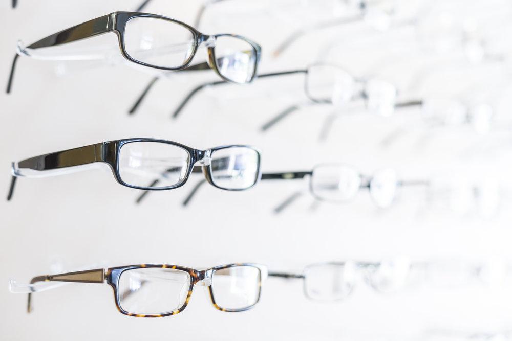 Glasses on Display Rack