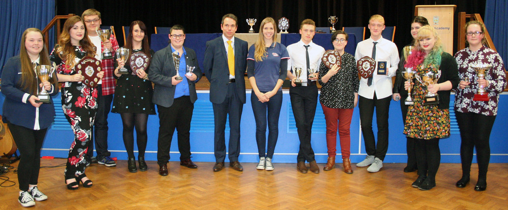 Award winners with guest speaker Rhiannon Henry and Headteacher Mr Mayland