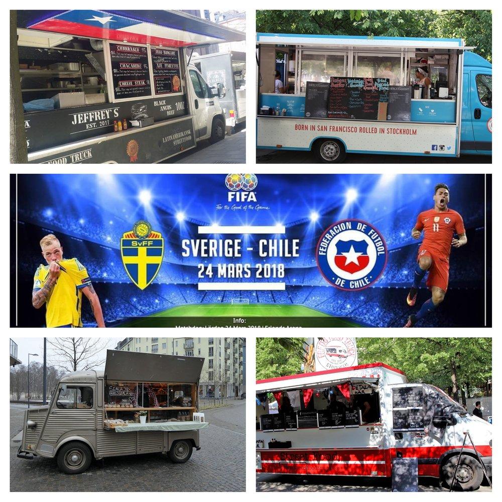 Förfesten inför matchen Sverige - Chile påFriends Arena 24 mars 2018 med Fred´s Food Truck, Christenson & Grez, The GoodGringo och Jeffrey´s Food Truck