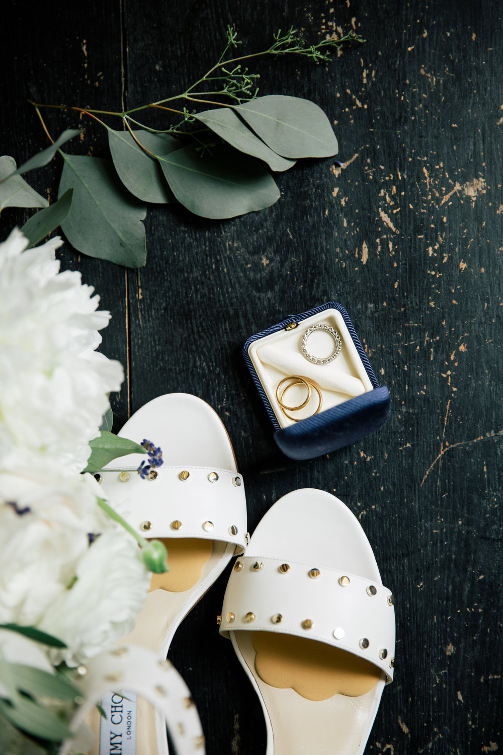 The rings and bride's shoes