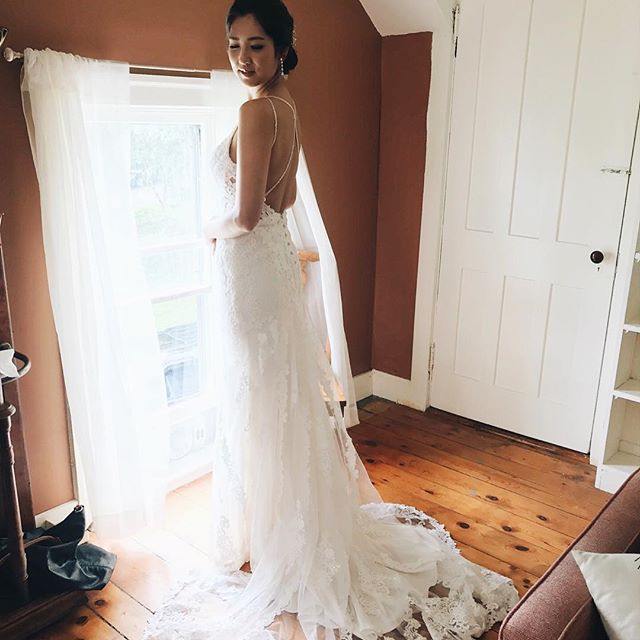 Leila in her stunning wedding dress. The seven ponds farm house has a salon for hair and makeup. #Sevenpondsfarm @loveleilajames . . . . . . . . . . . #farmwedding #farmweddings #farmweddingideas #barnwedding #barnweddings #barnweddingvenue #nyweddingvenues #weddingfun #weddingday #farmtotable #weddingdetails #100layercake #thatsdarling #marthastewartweddings #brides #bridemagazine #theknot #utterlyengaged #nyweddingguide #stylemepretty #smpweddings #upstateny #thecatskills #catskillswedding #weddingphotography #newyorkweddings #weddingfun #blenheimhillfarm #blenheimweddings @stylemepretty @brides @bridesmagazine @100layercake @theknot @martha_weddings @darling @bhldn @huffpostweddings