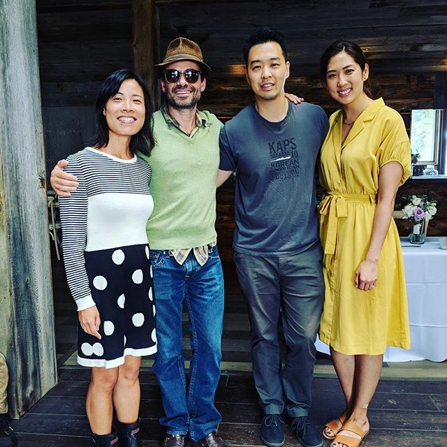 Leila and James with Seven Ponds owners Morten and Min, the morning after a beautiful wedding! . #Sevenpondsfarm @loveleilajames . . . . . . . . . . . #farmwedding #farmweddings #farmweddingideas #barnwedding #barnweddings #barnweddingvenue #nyweddingvenues #weddingfun #weddingday #farmtotable #weddingdetails #100layercake #thatsdarling #marthastewartweddings #brides #bridemagazine #theknot #utterlyengaged #nyweddingguide #stylemepretty #smpweddings #upstateny #thecatskills #catskillswedding #weddingphotography #newyorkweddings #weddingfun #blenheimhillfarm #blenheimweddings @stylemepretty @brides @bridesmagazine @100layercake @theknot @martha_weddings @darling @bhldn @huffpostweddings