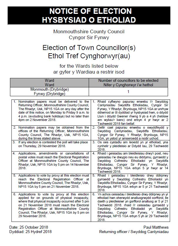 Notice of Election - Monmouth Town Council Drybridge Ward JPEG.JPG