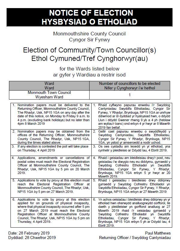 JPEG - Notice of Election - Monmouth Town Council Wyesham Ward.JPG