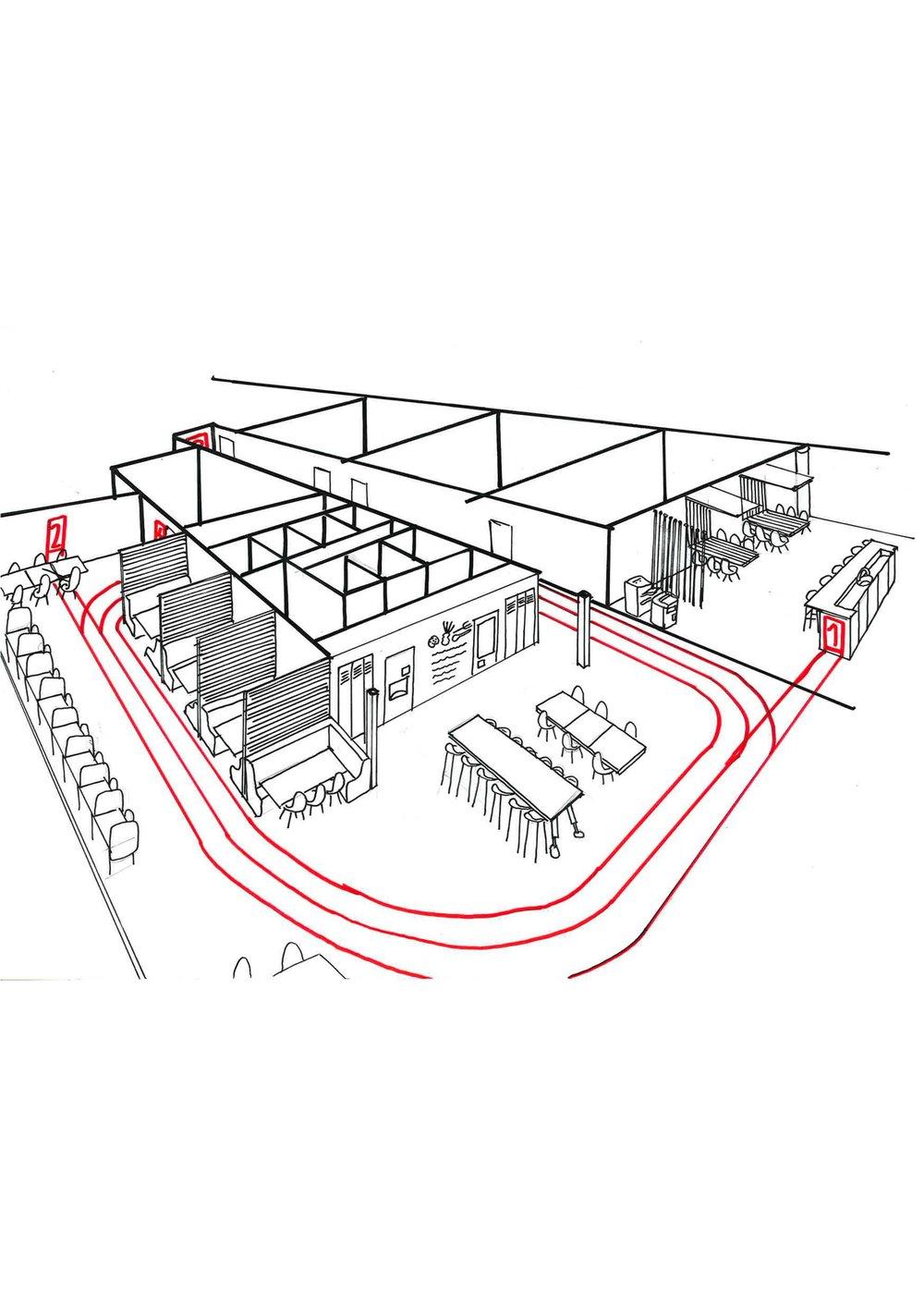 canteen running track interior