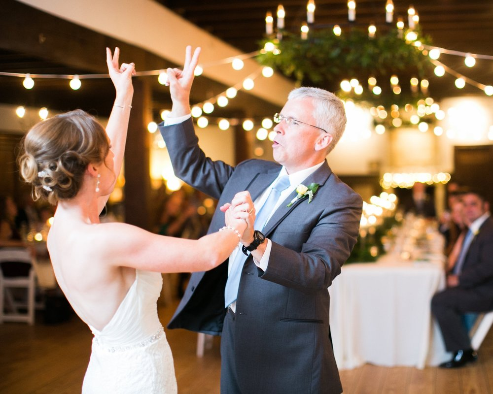 "The best Father/ Daughter dance ev-ver (2016)   Jess + Andrew's wedding was so classically beautiful. They had great taste, tackled almost everything together, and had a fantastic wedding. I'll never forget when the music Screeched and the Father/ Daughter danced turned into a waltz of ""Take Me Out To The Ball Game."" A little something unexpected in the most elegant way possible!"