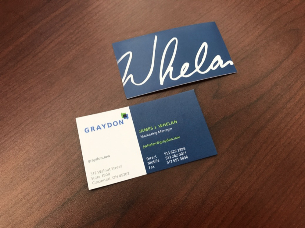 Business cards offer a variety of printed backs (colors and patterns) to demonstrate innovation and to delight.