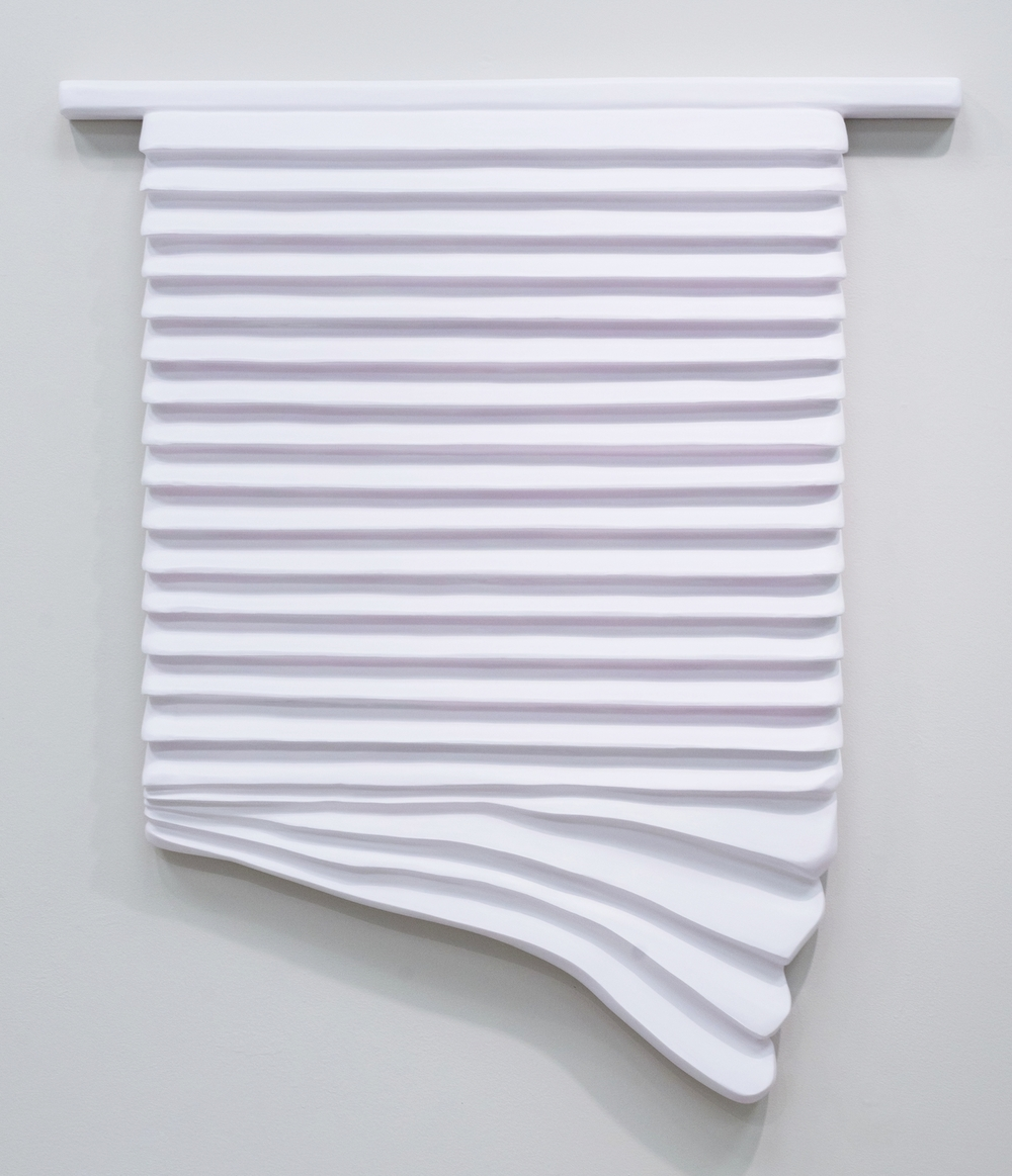 Untitled (Window Blinds), 2015, Acrylic, primer, joint compound, and insulation foam on panel, 51x44x3.75in