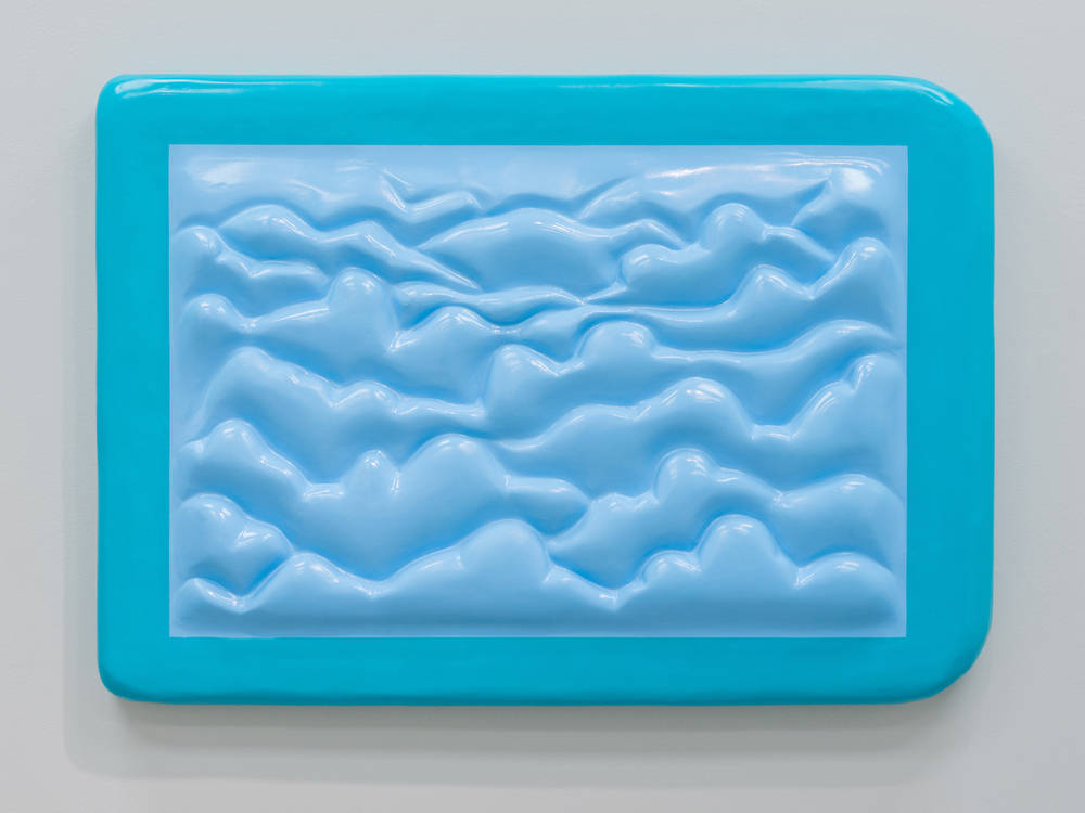 Nebraska Sky (Framed Painting), 2015, Spray paint, primer, joint compound, and insulation foam on panel, 46x33x4.5in