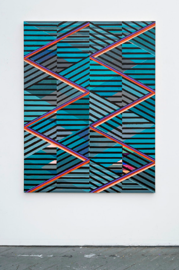 Sunset Strips, 2016, Acrylic and colored pencil on canvas, 60 x 46 1/2 inches