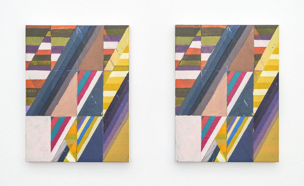 Line of Thinking (Diptych), 2015, Acrylic + colored pencil on linen over panels, 12 x 9 inches each