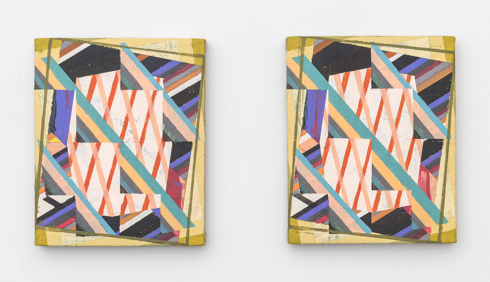 Two Left Feet and Vertigo (Diptych), 2016, Acrylic + colored pencil on linen over panels, 10 x 8 inches each