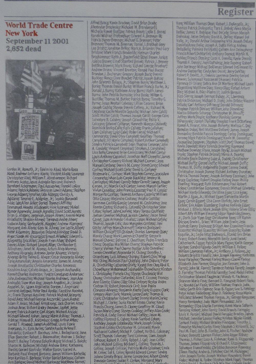 3000 Names, 2011