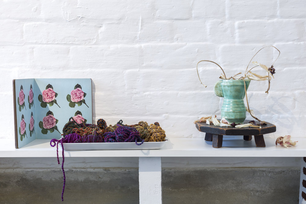 Georgie Hopton: Flower book, tray of coloured wool and still life of dried flowers.
