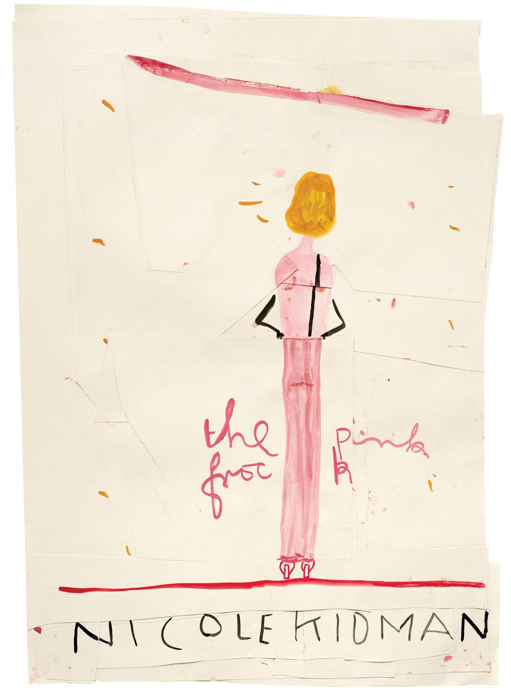 Rose Wylie, '  Nicole Kidman (Pink Frock)', 2015
