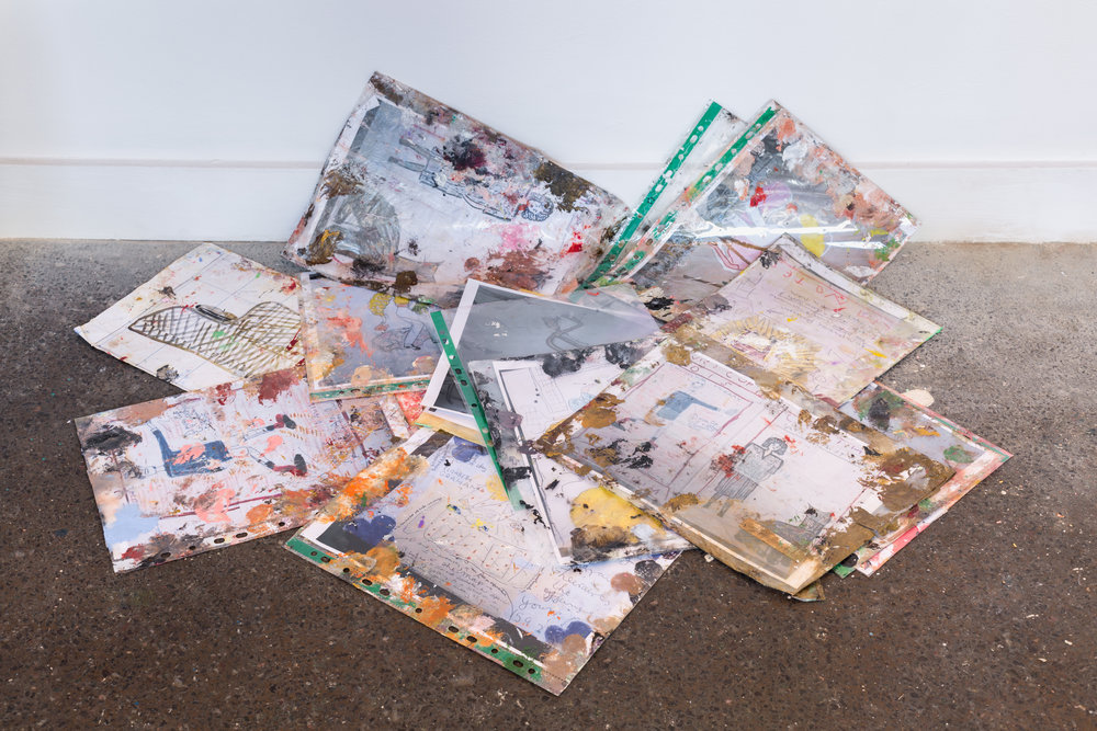 Rose Wylie, collateral. A selection of photographs of older drawings and paintings kept in polythene folders by the artist and used as reference in making new work.