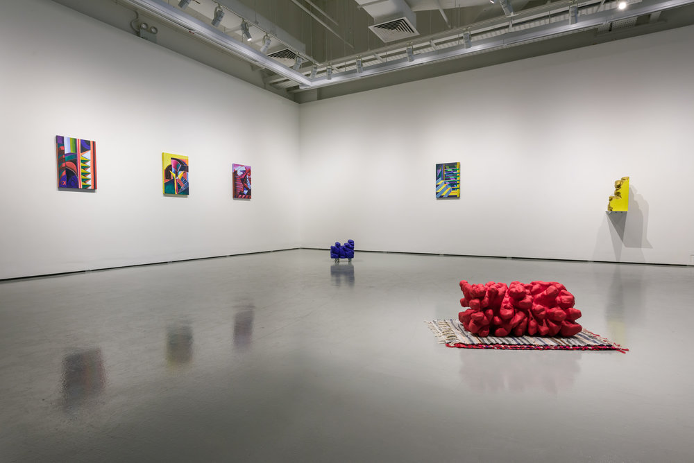 Installation view of 'head heap heat' at the Institute of Contemporary Arts Singapore, Singapore. 2018