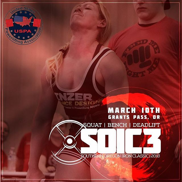 Less than 90 til #SOIC3 and we almost full ... over $2500 in cash prizes plus $500 to the gym with the largest team to register.  Get on it and sign up. @uspapower @southernoregon_ironclassic #powerlifting #southernoregon #pnw
