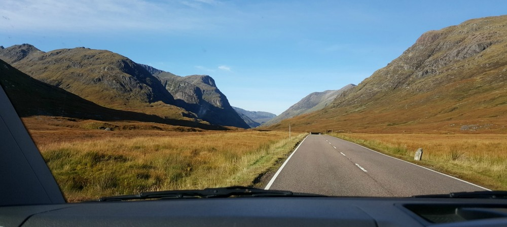 Driving in Scotland: the approach to Glen Coe from the east via Rannoch Moor