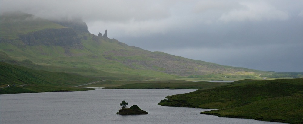 The Old Man of Storr in distant profile, north of Portree, Isle of Skye. August on Skye. The best time to visit Scotland? Perhaps.