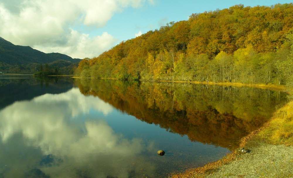 Not a breath of wind to disturb the reflections. There are still some leaves on the trees. Well, it wasn't like that the year before. You can never tell...in the Trossachs or anywhere else in Scotland.