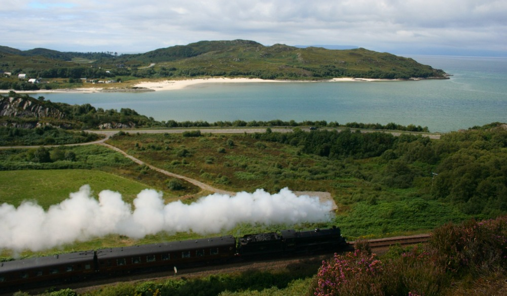 Steam traction on the Fort William to Mallaig line - The Jacobite summer service, passing Morar en route to Fort William.