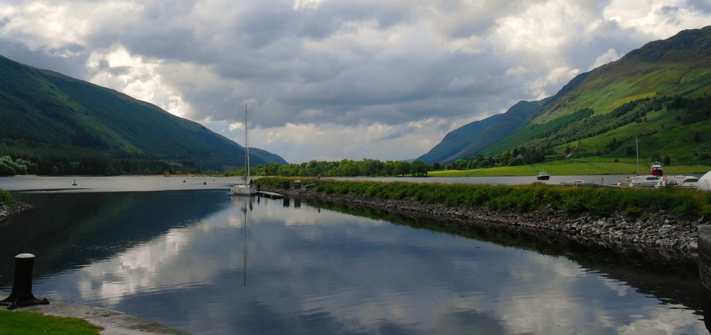 Looking south towards Loch Lochy at Laggan Locks on the Caledonian Canal - a pleasant escape from the hurly-burly of Great Glen driving.