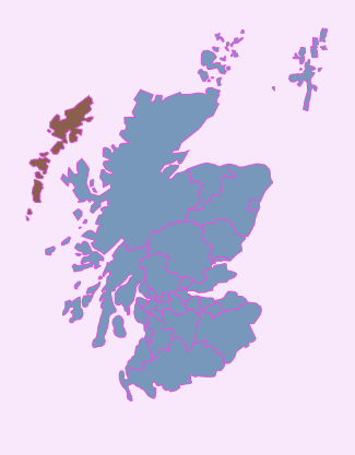 Where the Outer Hebrides, or Western Isles, are - in relation to the mainland.