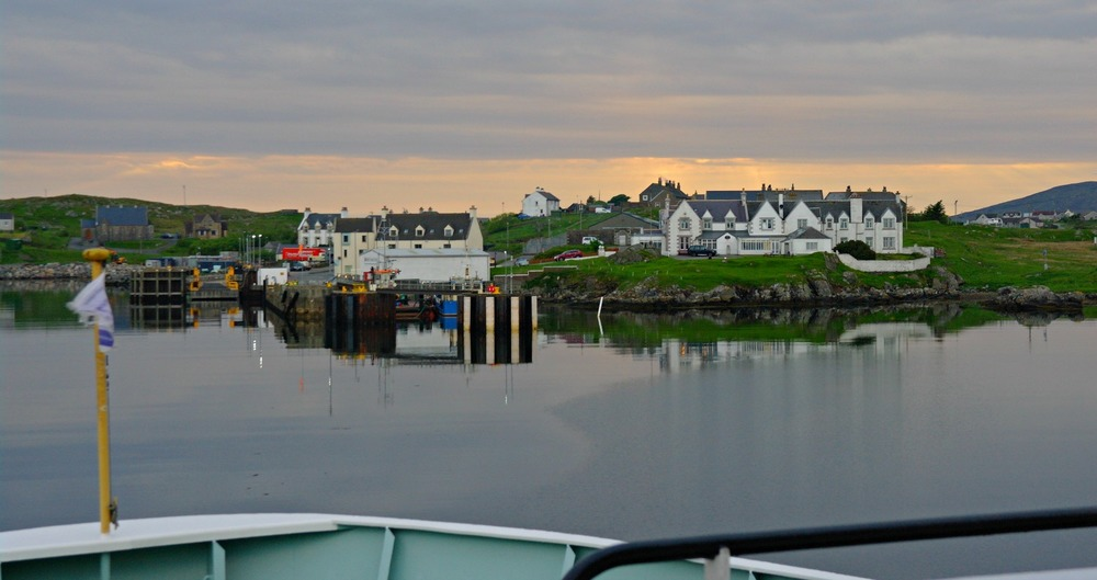 View from the ferry from Oban on the mainland, approaching Lochboisdale pier, South Uist.
