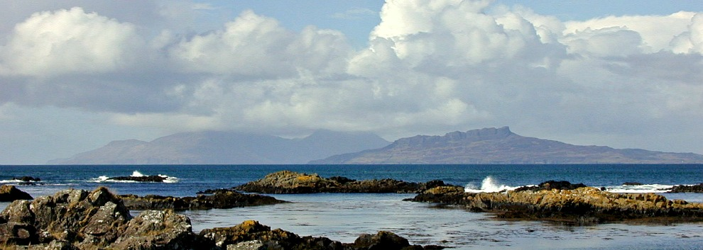 Islands of Rum (left) and Eigg from Ardnamurchan