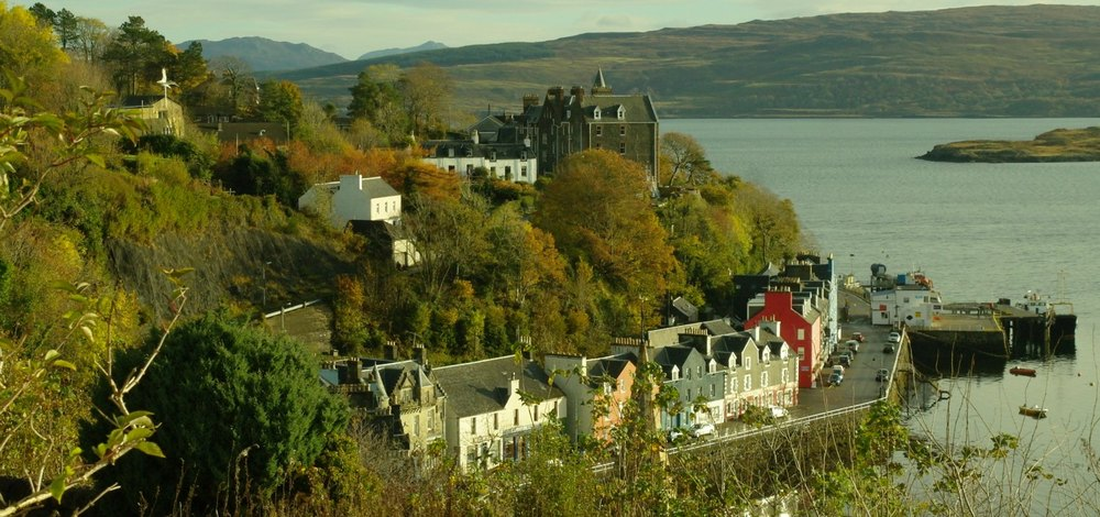 Tobermory, on the island of mull. Hills of Ardnamurchan, distantly, left at top of picture.