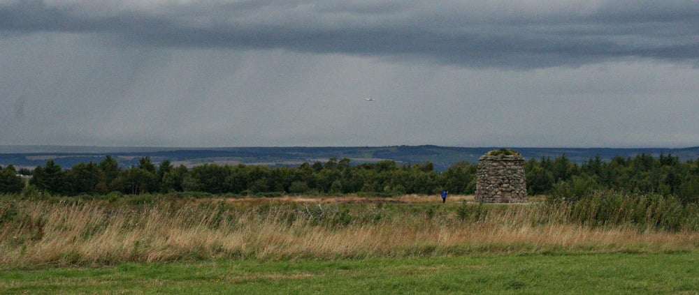 Prince Charles Edward Stuart's last battle: Culloden, near Inverness. View of Memorial Cairn, looking north.