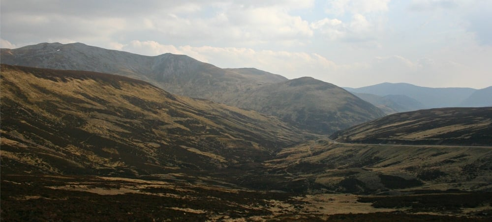 Creag Leacach, top left. A93 climbing to ski centre, right.
