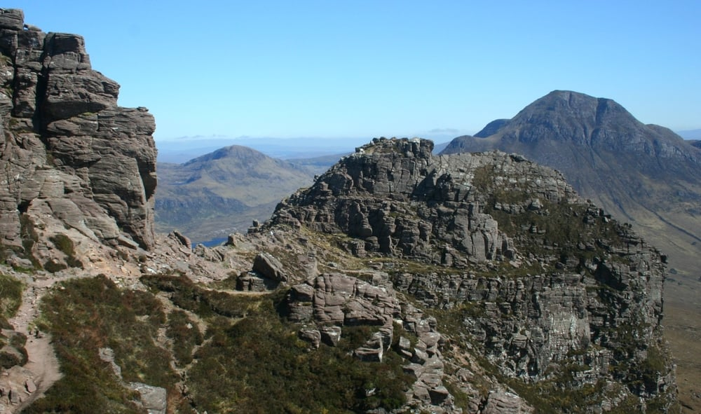 The summit ridge of Stac Polly, with Cul Beag beyond