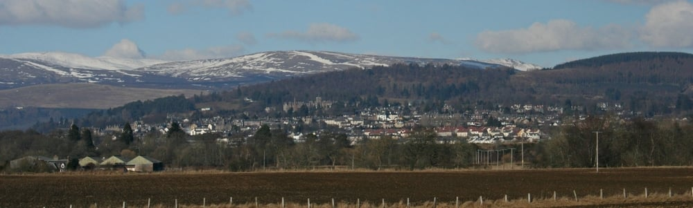 Crieff's setting just below the Highland line.