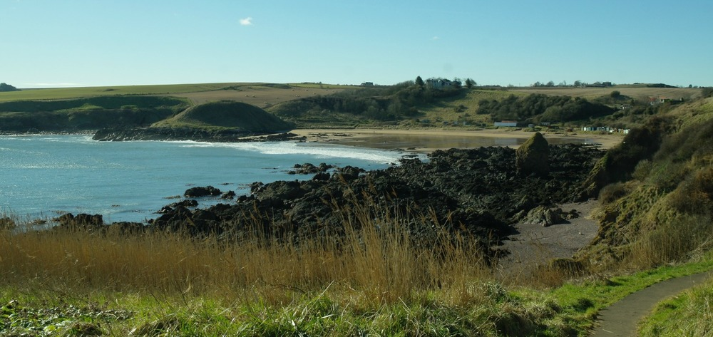 Coldingham Sands in winter, from the path to St Abbs