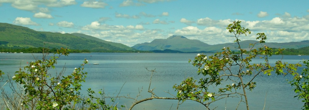 Ben Lomond beyond Loch Lomond.