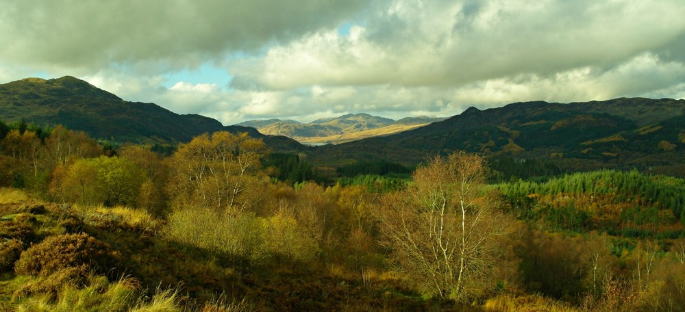 Trossachs in autumn. How far is Edinburgh from here? Driving time not much over an hour.