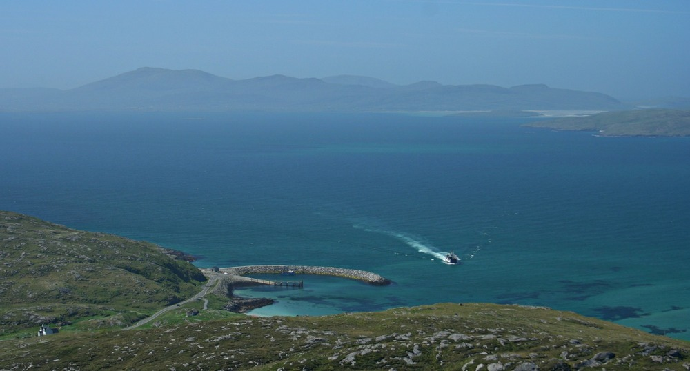 Barra ferry approaching Isle of Eriskay