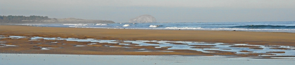 John Muir Country Park, near Dunbar, looking towards a misty Bass Rock