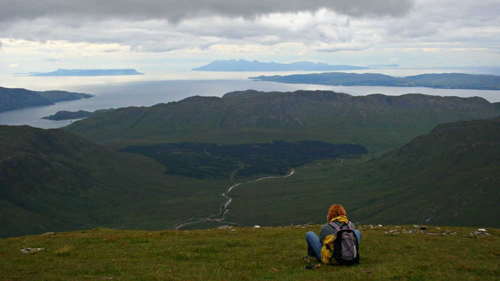 Islands of Rum and Eigg from the slopes of Ladhar Bheinn