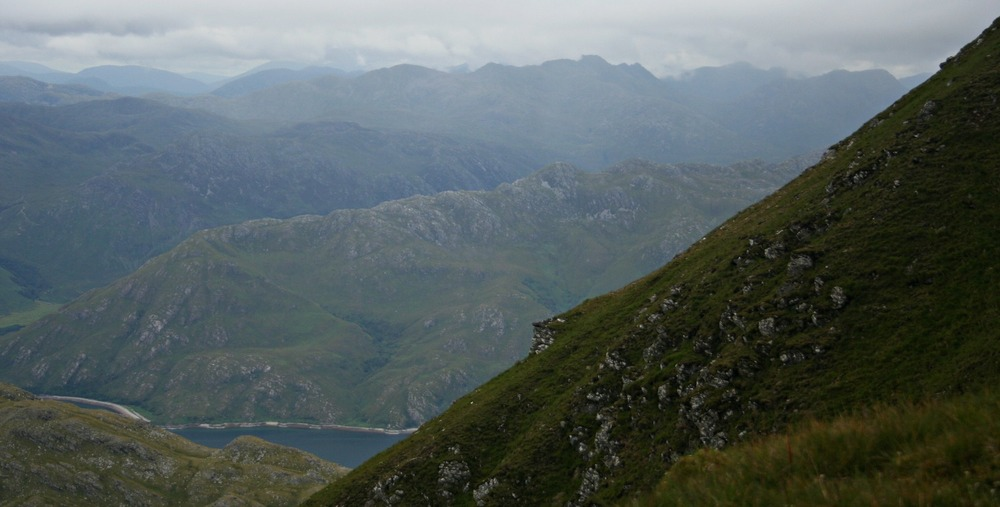 Looking north from the slopes of Ladhar Bheinn with Loch Hourn below