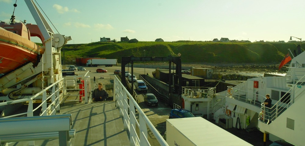 Gills Bay, Caithness, view of Orkney ferry terminal at Gills Bay, looking from aboard the MV Pentalina.