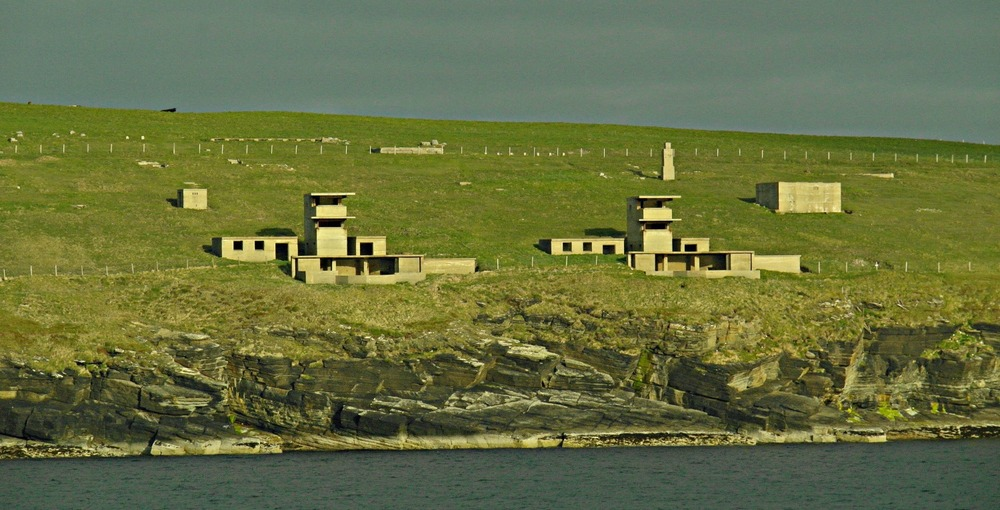 Hoxa Head, Orkney, World War I guard towers overlooking the entrance to Scapa Flow.