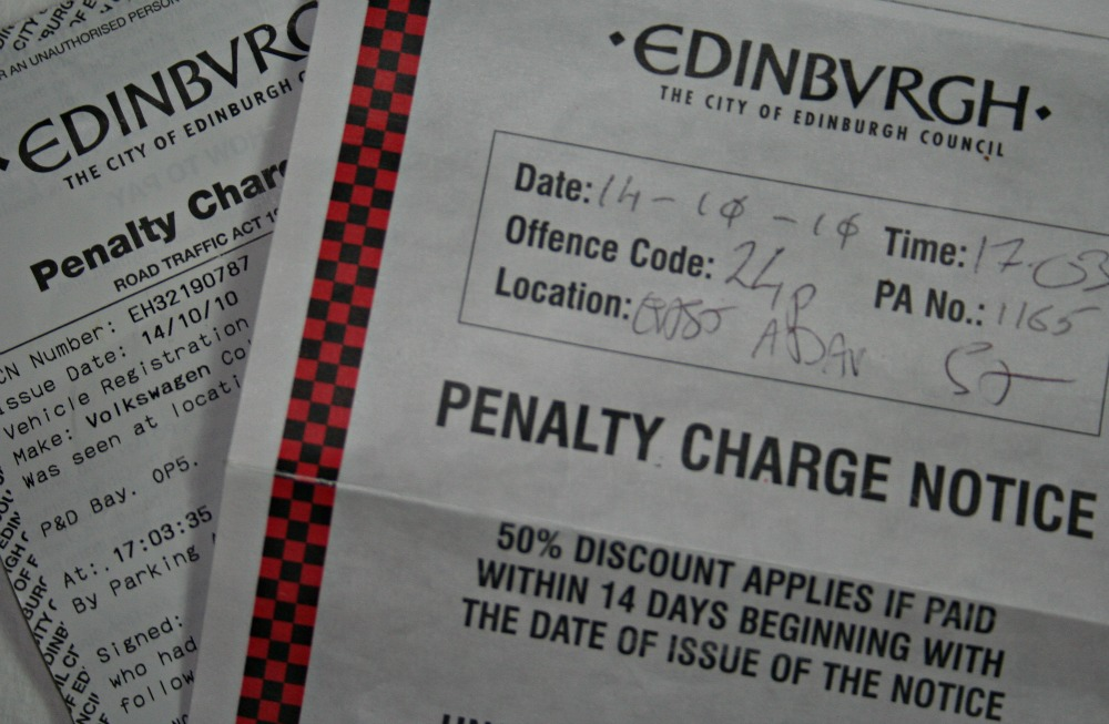 A fine for a parking offence in Edinburgh – the unwanted souvenir of the city.