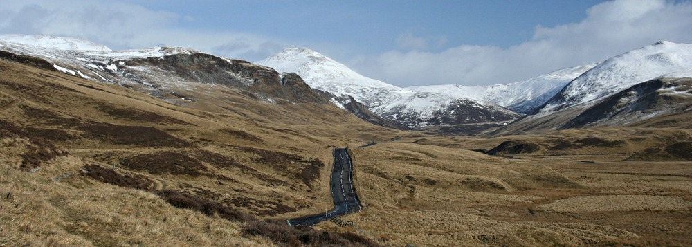 Glenshee road in winter, looking north, beyond the Spittal of Glenshee